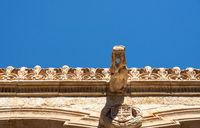 Casa de la Conchas and its carved waterspout in Salamanca Spain
