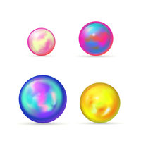 Set of glossy colorful marble balls on white