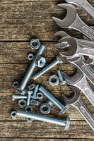 Chrome vanadium wrench and bolts.