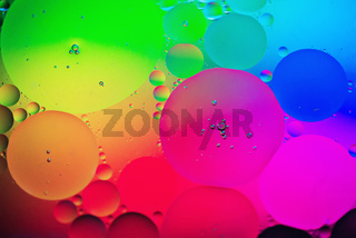 Rainbow abstract background picture made with oil, water and soap
