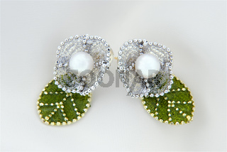 Floral Chiffon Earrings With Akoya Pearls And Gold