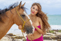 Hispanic Brunette Model And Horse