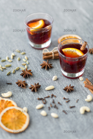 hot mulled wine, orange slices, raisins and spices
