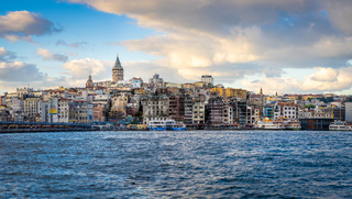 Panorama view of Galata Tower and Istanbul skyline in Istanbul, Turkey