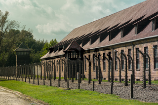 Fences and barracks at The Nazi concentration camp of Auschwitz in Oswiecim, Poland, a UNESCO World Heritage