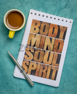 body, mind, soul and spirit concept