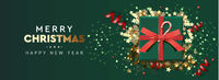Holiday background Merry Christmas and Happy New Year. Xmas design with realistic festive objects, sparkling lights garland, green gift box, glitter gold confetti, red streamers. Horizontal banner