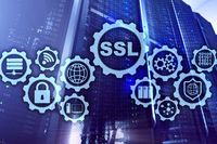 SSL Secure Sockets Layer concept. Cryptographic protocols provide secured communications. Server room background.