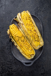 Traditional barbecue corn green as closeup on a cast iron design plate with copy