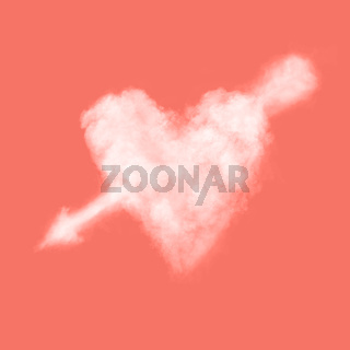 Cloudy white heart with an arrow through it on a background in a color of the year 2019 Living Coral Pantone . Place for text.