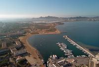 Aerial panoramic photography drone point of view La Manga del Mar Menor townscape and seaside spit of Mediterranean Sea, Mar Menor in Region of Murcia, Spain