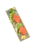 Salmon sashimi. Japanese food. white isolated background