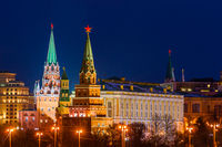 Illuminated Moscow Kremlin in winter