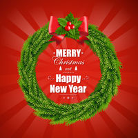 Christmas Wreath Isolated Red Background