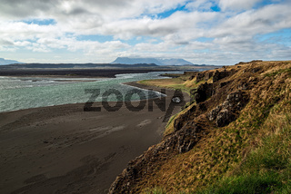 Mountains and black beach near Hvitserkur in Iceland