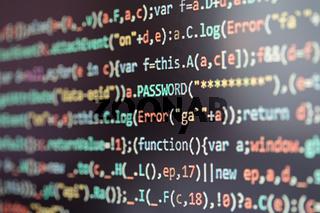 Computer screen displaying program code