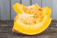 ripe orange pumpkin cut