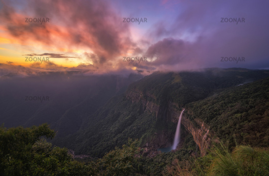 Nohkalikai falls at sunset, Meghalaya, India