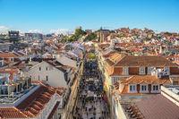 Lisbon Portugal aerial view city skyline at Augusta street