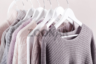 Warm knitted, autumn, winter clothes