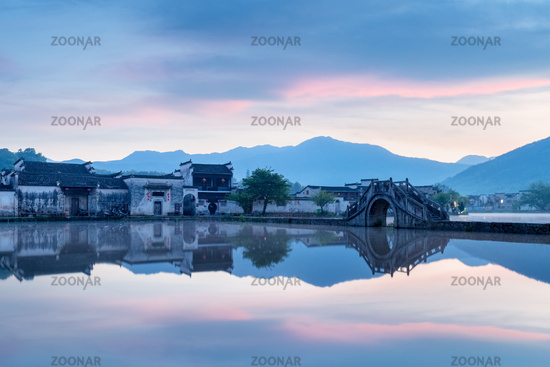 picturesque ancient village in sunrise
