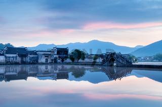 picturesque ancient village in sunrise