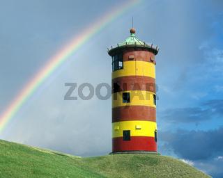 Pilsumer, Leuchtturm;  Regenbogen