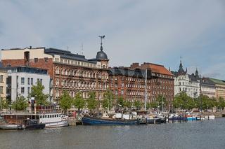Exquisite residences in Helsinki in Finland are along embankment Pohjoisranta