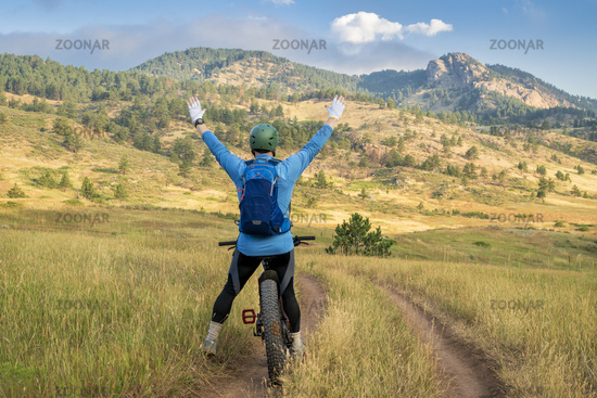 happy cyclist on a fat mountain bike