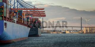 Containerterminal im Hamburger Hafen bei Sonnenuntergang mit Köhlbrandbrücke