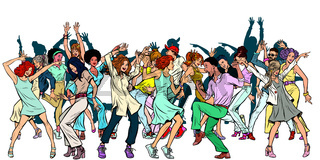 Group of dancing youth, isolate on a white background