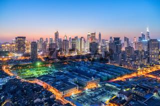 shanghai modern building skyline in nightfall