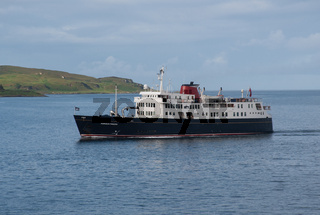 Oban Scotland  United Kingdom  - 4 June 2019:  Cruise Ship converted from ferry cruising Scottish Islands