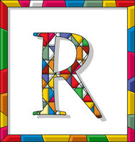 Letter R in stained glass