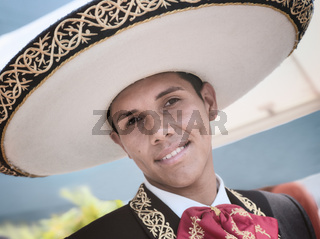 Puerto Vallarta, Mexico - April 30, 2011: Close Up Of A Man Dressed In Traditional Mexican Outfit And Wearing Sombrero