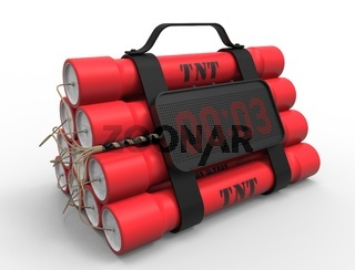 3D illustration 3D rendering of dynamite bomb with a timer in white background.