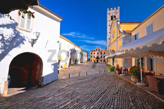 Motovun. Main stone square and church in historic town of Motovun