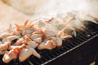 pork barbecue, cooked on grilled charcoal barbecue is beautiful. The meat on the fire. The meat on the coals