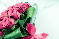 Luxury bouquet of pink roses on marble background, beautiful flowers as holiday love present on Valentines Day