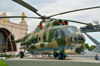 Moscow, Russia - august 12, 2019: Transport and landing helicopter Mi-8 at VDNKh in Moscow
