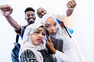 portrait of african students group