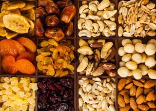 Dried fruit and nuts at street market, close up