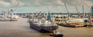 Panorama vom Hamburger Hafen mit Frachtschiff und Containerbrücken