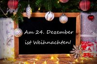 Chalkboard, Tree, Gift, Fairy Lights, Weihnachten Means Christmas