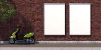 3d-illustration two vertical blank advertising billboard on brick wall