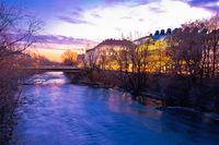 Mur river waterfront in Graz evening view
