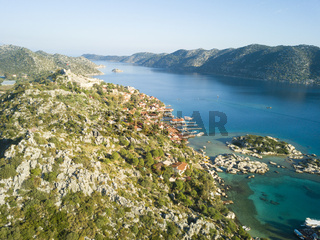 Aerial View Kalekoy Village Kekova Island Turkey