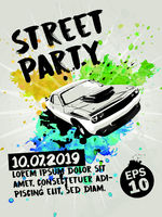 Street party poster with muscle car and transparent watercolor splashes in the background. Vector illustration.