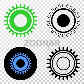 Gear Vector EPS Icon with Contour Version