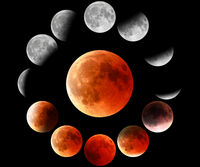 red moon phases in circle